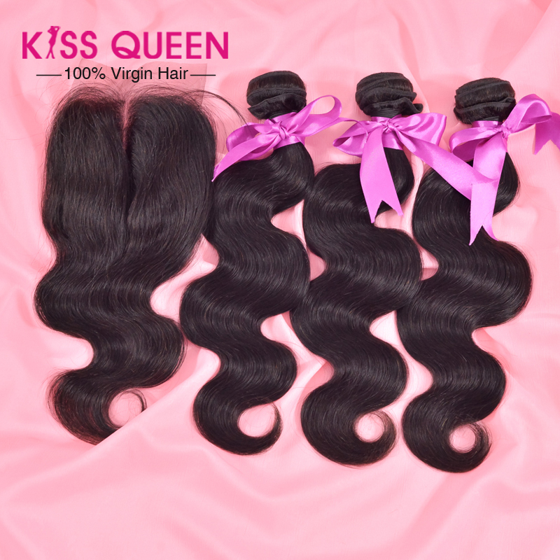 7A virgin malaysian body wave with closure 3 pcs Weft & 1 pc Closure unprocessed virgin malaysian hair with human hair closure