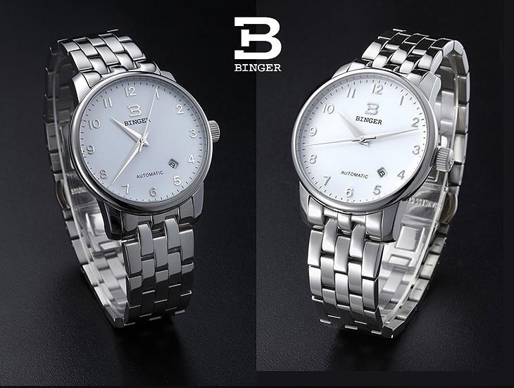 Швейцария часы мужские роскошные brand18K золото Наручные Часы БИНГЕР бизнес Механические Наручные Часы полный нержавеющей стали B5005A-8