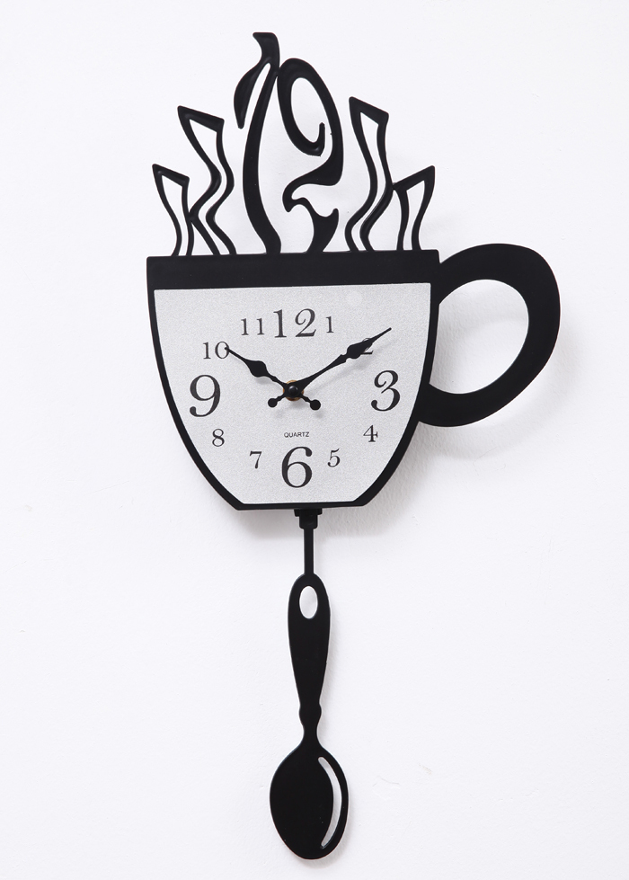 Wholesale A006 Coffee Time Wall Clock Swing Spoon Quartz Fashion Time  Unique Bar Restaurant Kitchen Wall Decor Decoration