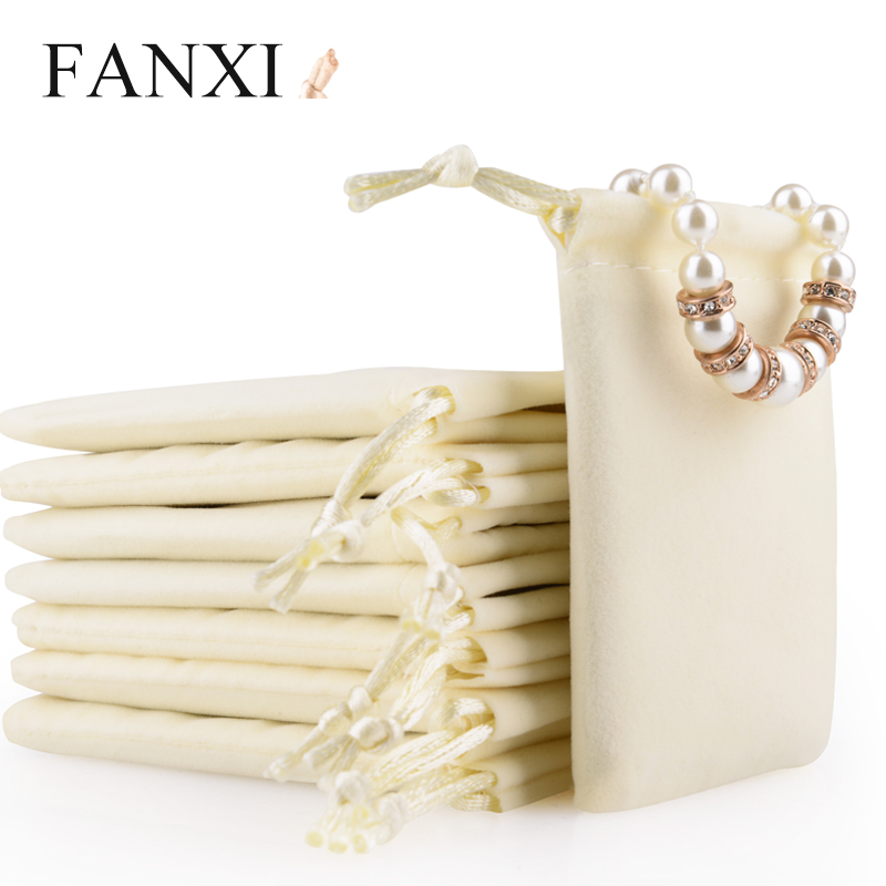 FANXI Free Shipping Beige Jewelry Shopping Bag For Gift Package Drawstring Bag Holder Jewelry Ring Earrings Drawstring Bag(China (Mainland))