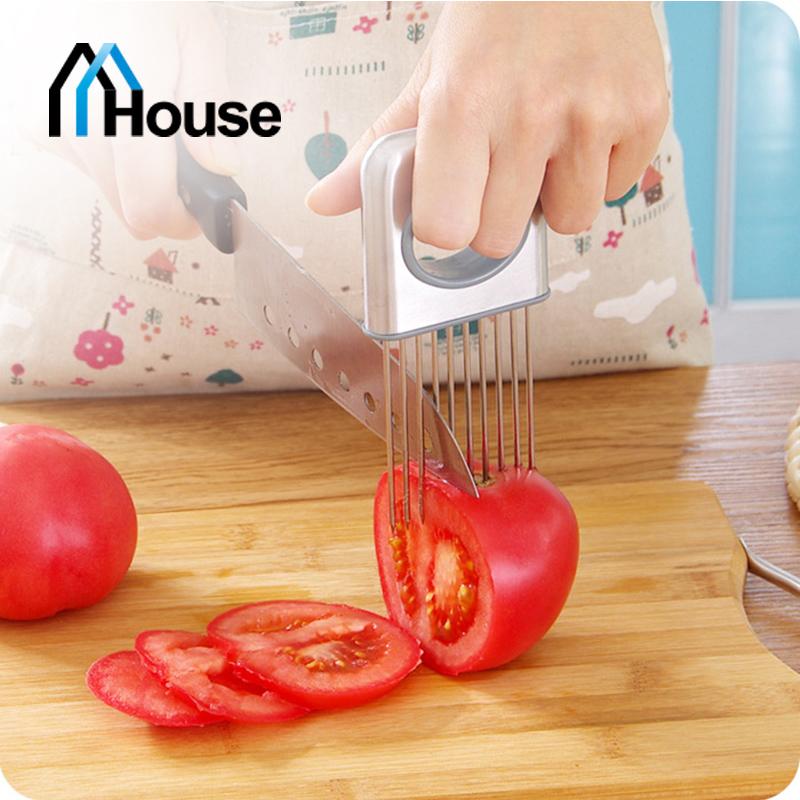 Easy Onion Holder Slicer Stainless Steel Kitchen Gadgets