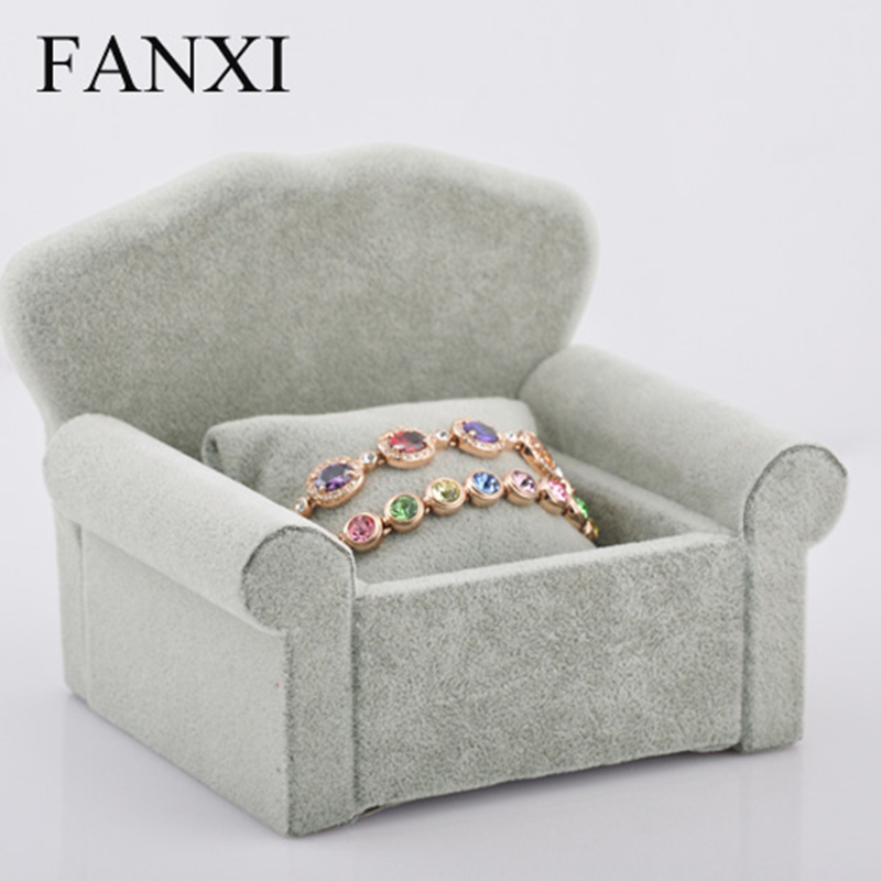 FANXI Free Shipping Vintage SOFA Watch Bracelet Pillow Holder Gray Velvet MDF Jewelry Display Stand Counter Shop Exhibitor(China (Mainland))