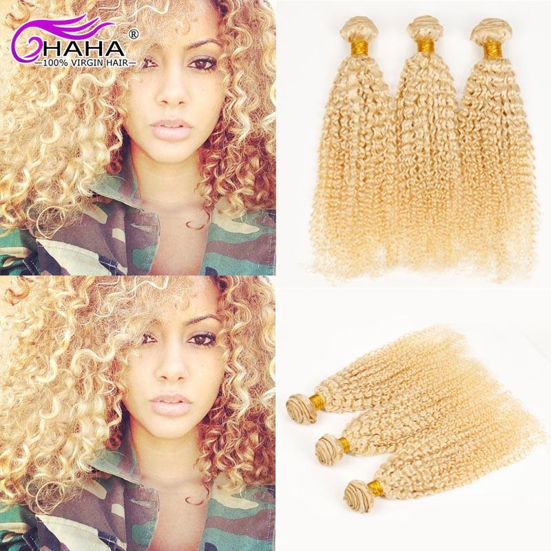 Brazilian Blonde Curly Hair 7A Virgin Brazilian Blonde Kinky Curly Human Hair Weave 10-26 2Pcs Lot Blond Virgin Curly Hair<br><br>Aliexpress