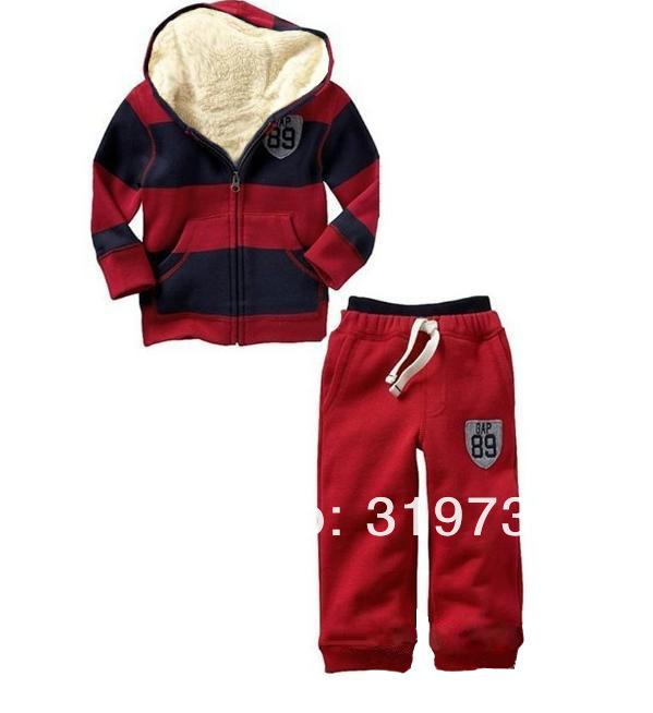 Скидки на Мальчики-младенцы зима толще длинная рукавами полоска закрытый воротник куртка + свободного покроя брючные костюмы верхний + брюки комплект два частей 5 комплект / много