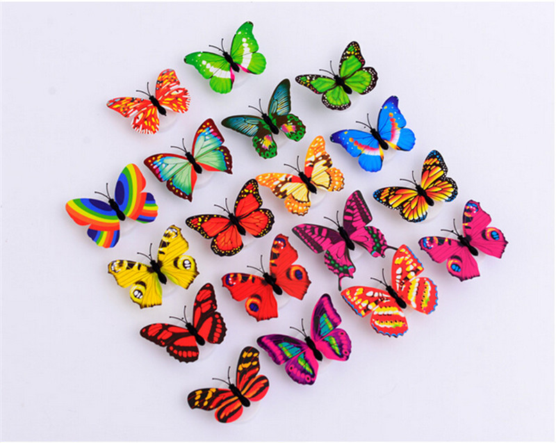 12pcs/lot New Colorful Fiber Optic LED Butterfly Nightlight For Wedding Room Decoration Glow Flashing Butterfly Night Light(China (Mainland))