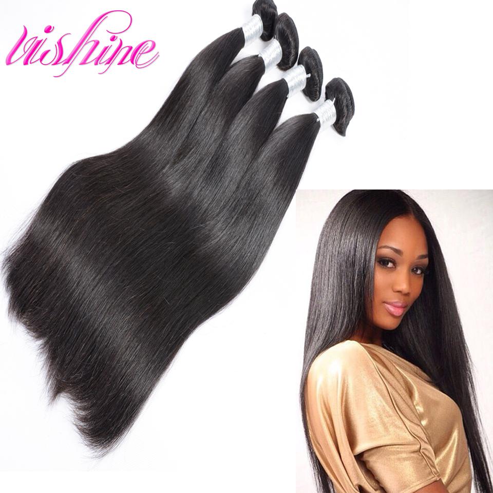 Rosa Hair Products 7A Brazilian Virgin Hair Straight 4 Bundles Deals Brazillian Straight Human Hair Tissage Bresilienne Lots 4