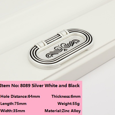 2pcsContinental surface mounted handle pinch invisible silver white and black rose Free slotted dark handle factory direct 8089(China (Mainland))