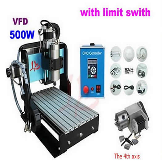 HOT SALE! mini desktop cnc router 3020 Z-D 4 axis 500W with limit swith ,cnc drill engraving carving machine for metal wood(China (Mainland))