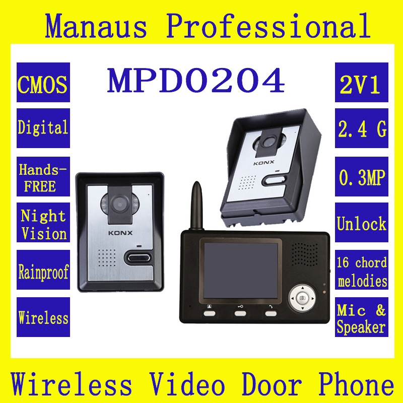 Wireless Video Intercom System Color Video Door Phone One 3.5 Inch Display Screen&Two Outdoor Waterproof Security Cameras D204b(China (Mainland))