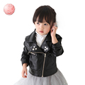 2016 Spring High Quality PU Leather Jacket Jacket Coat Baby girl Clothes Kids Clothes Casual Outerwear