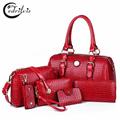 Crocodile Grain Composite Women Shoulder Bag W397 High grade Pu Leather Big Handbag Crocodile Grain Composite