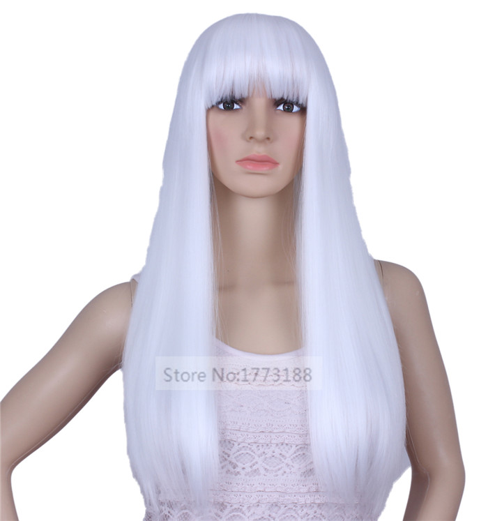 Free Shipping Top Grade Final Fantasy Sephiroth Long Straight Beautiful White Cosplay Wig Hair(China (Mainland))