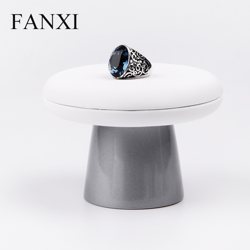 FANXI Free shipping custom 6 pcs/lot resin with gray lacquer pedestal and PU leather top jewellery shop counter display stand(China (Mainland))