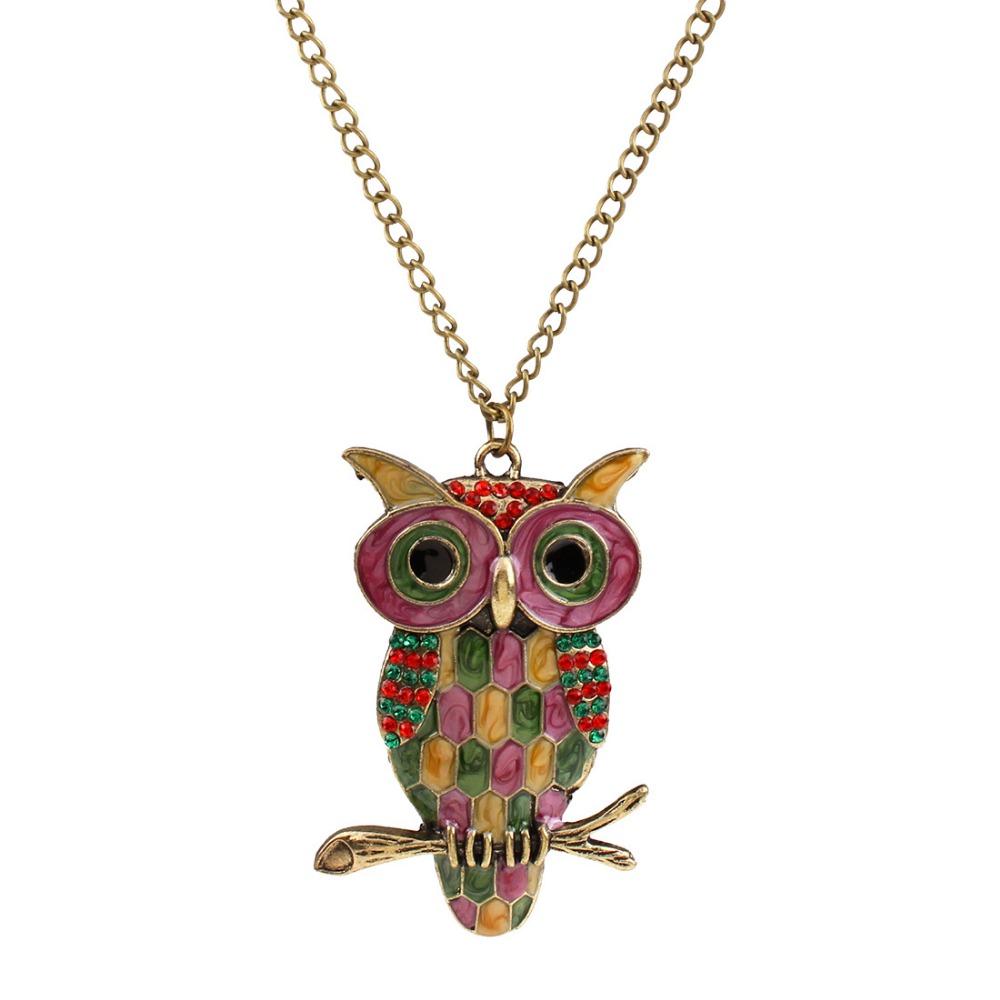 Vintage Style Ancient Bronze Eanmel Owl Pendant Long Chain Necklaces Wholesale women jewlery(China (Mainland))