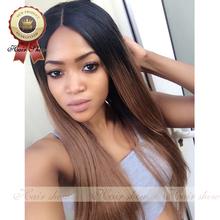 2016 sin procesar ombre rectas pelucas superiores de seda del cordón del pelo brasileño y del frente del cordón pelucas de cabello humano negro women peluca llena del cordón