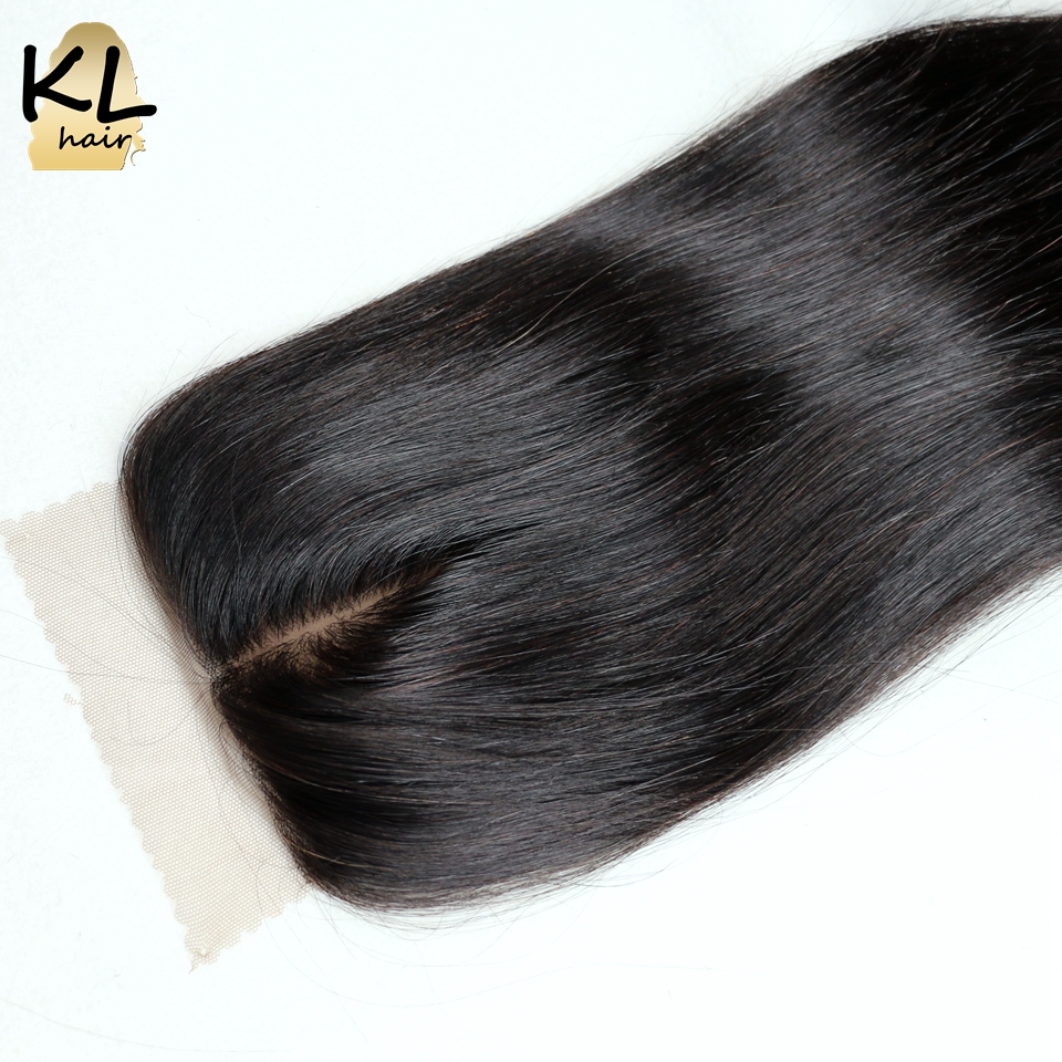 KL Hair Middle Part Silk Base Closure Straight Human Hair Brazilian Remy Hair Silk Lace Closure Bleached Knots With Baby Hair(China (Mainland))