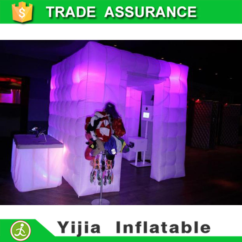 2 doors inflatable led cube tent digital photo booth without roof(China (Mainland))
