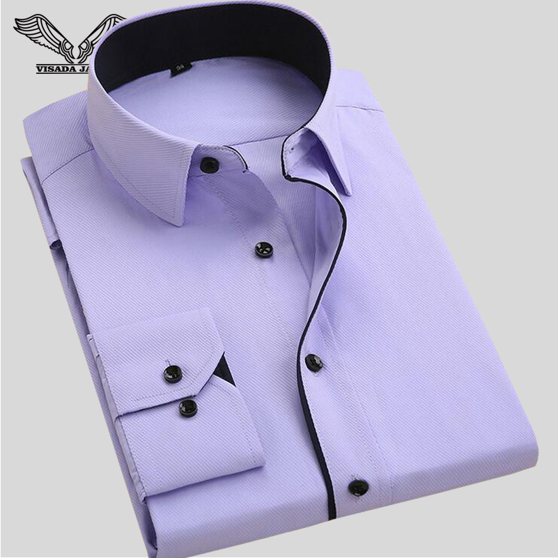 Men's Business Shirt 2017 Spring New Arrivals Fashion Cotton Male Clothing Long Sleeve Slim Fitness Men Dress Shirt 4XL N355