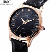 Good Quality IBSO Brand Quartz Watch Lovers Watches Women Men Genuine Leather 3ATM Waterproof Rhinestone Dial Wristwatches 1pc