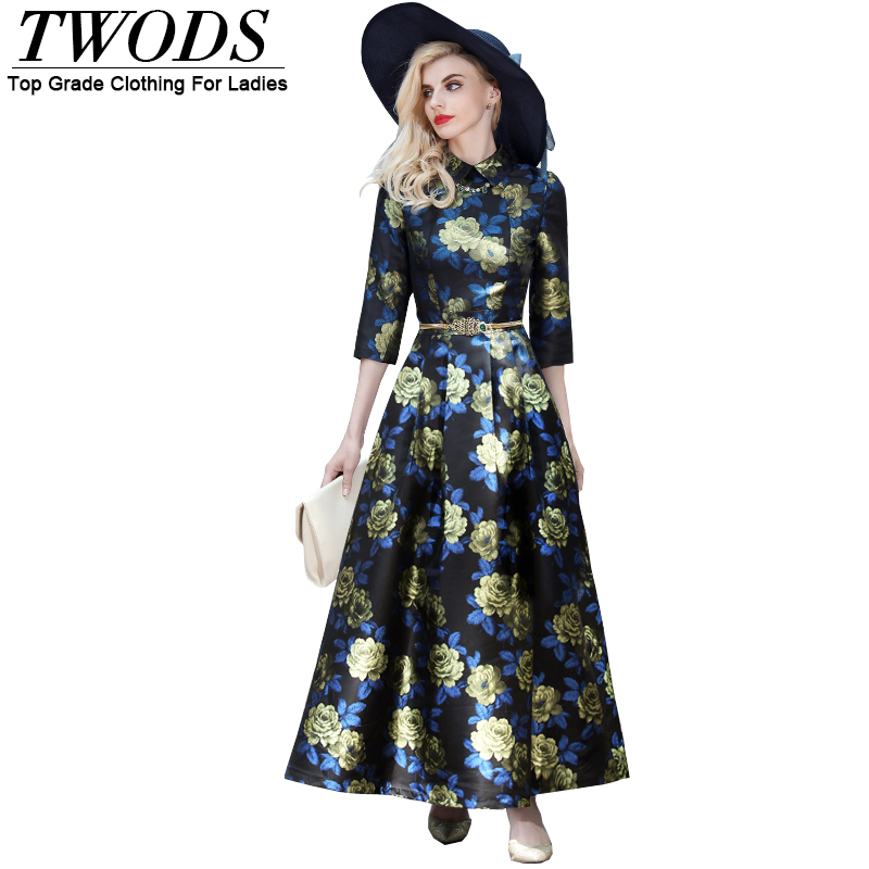 Twods S-XXXL Vintage Flowers Women Pleat Maxi Dress Plus Size Autumn Collared 3/4 Sleeve Swing Long Dresses Robe Longue Femme(China (Mainland))