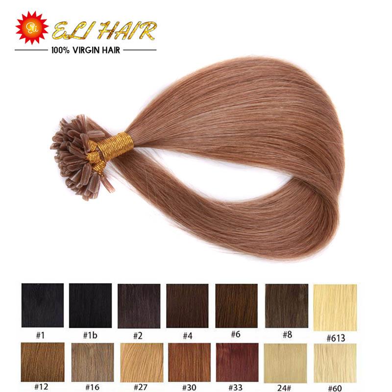 "Brazilian U Tip Hair Extensions Human 18""20""22""24"" 50G Natural Keratin Capsule Pre-Bonded Flat Tip Hair Extensions Nail Tip(China (Mainland))"