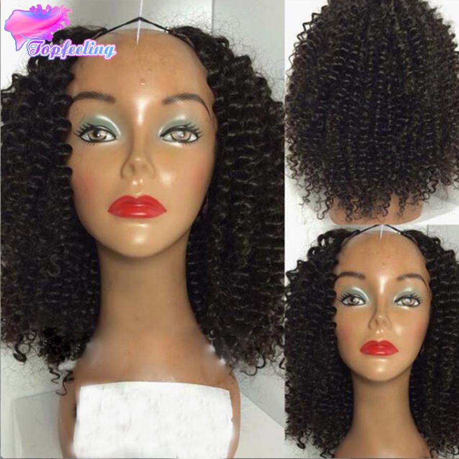 7A Brazilian Kinky Curly U Part Human Hair Wigs Virgin Wig Black Women Glueless - top feeling hair store