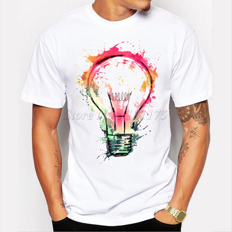 New color painted bulb design men 39 s t shirt cool fashion Cool design t shirt