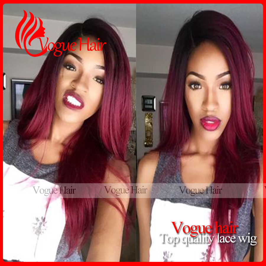 Ombre burgundy long Silk Straight Synthetic Lace Front Wig Glueless Natural Black/99j omber color Heat Resistant Hair Wigs <br><br>Aliexpress