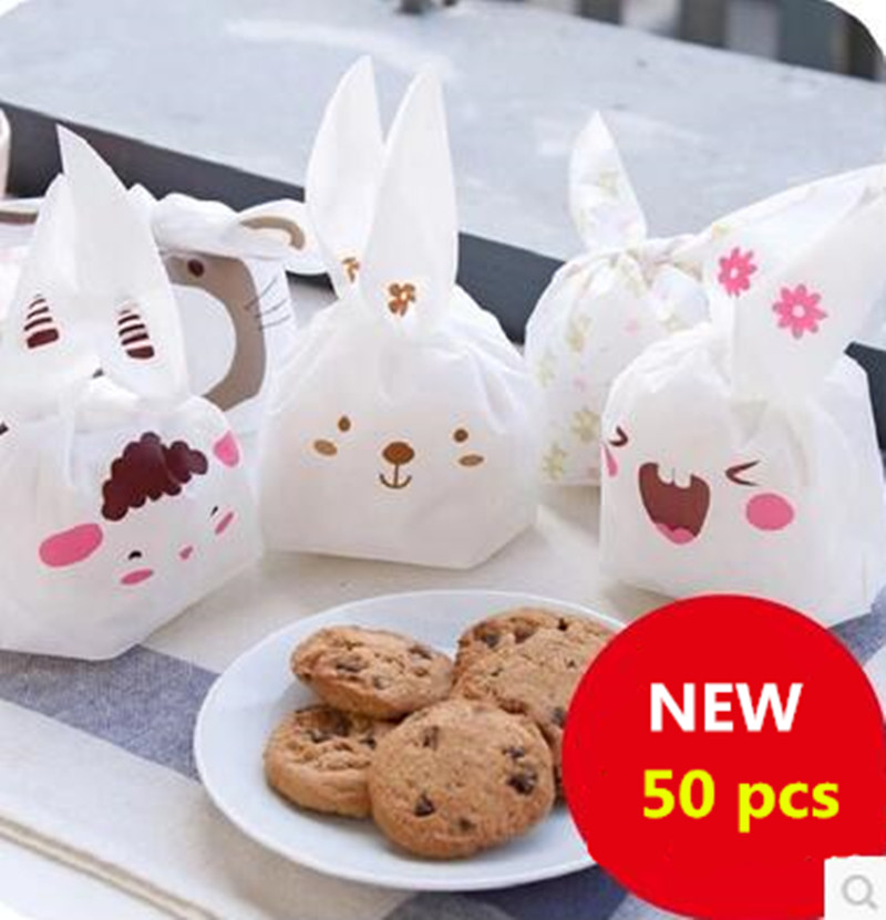 50pcs/lot Cookie Packaging Lovely Sheep Cute Bear Animal Series Plastic Handle Bags for Biscuits Snack Baking Package(China (Mainland))