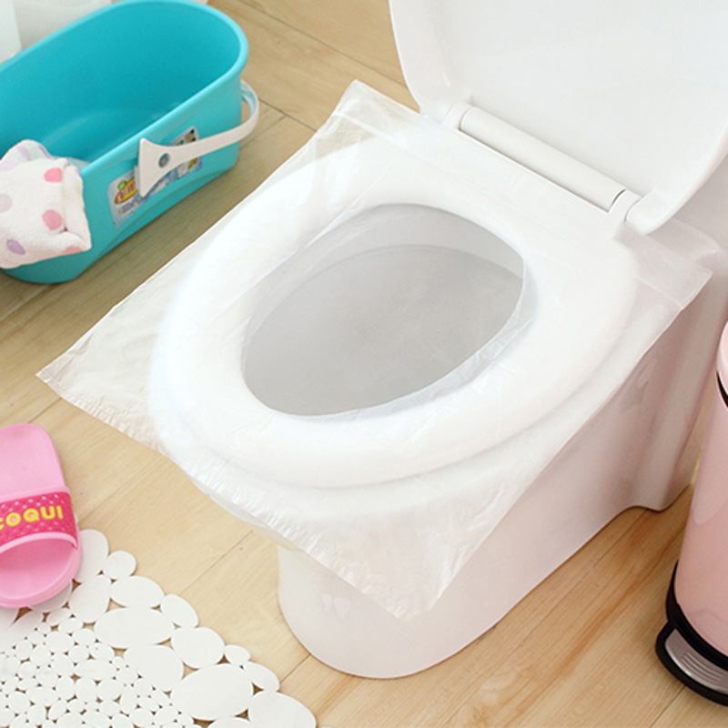 50Pcs/100Pcs Travel Safety Plastic Disposable Toilet Seat Cover Waterproof 40*48cm(China (Mainland))
