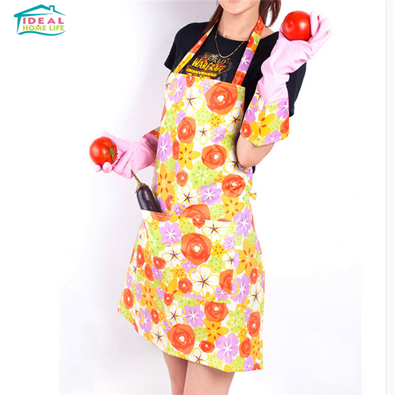 Fashion Printing Waterproof Cleaning Kitchen Cooking Aprons Girls Lady Apron(China (Mainland))