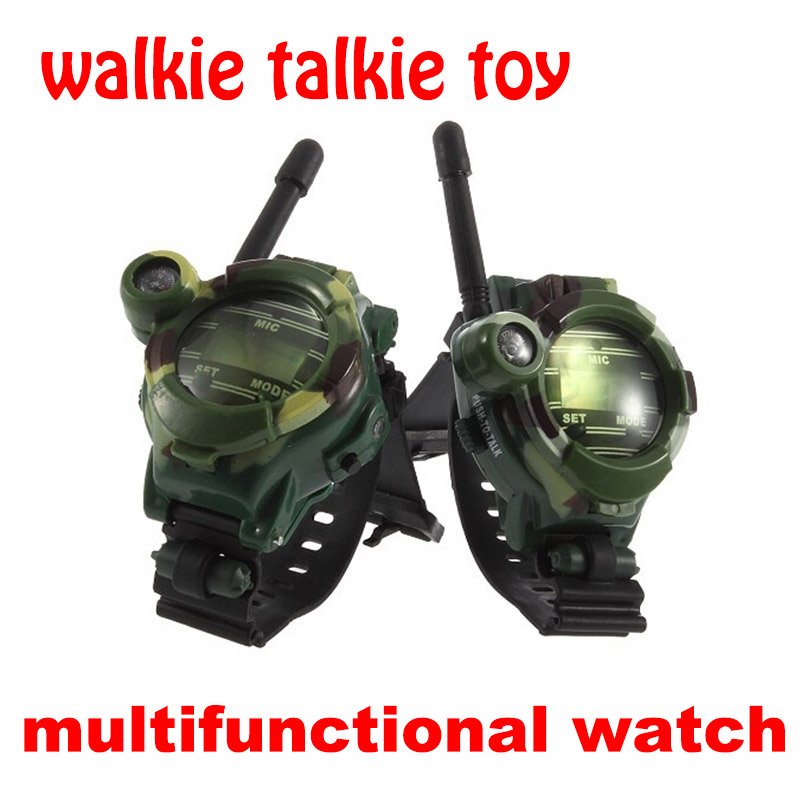 2PCS Walkie Talkie Toys Children Military Style Wrist Watch Multi-functional Two Way Radio Toy with Compass Magnifier Reflector(China (Mainland))