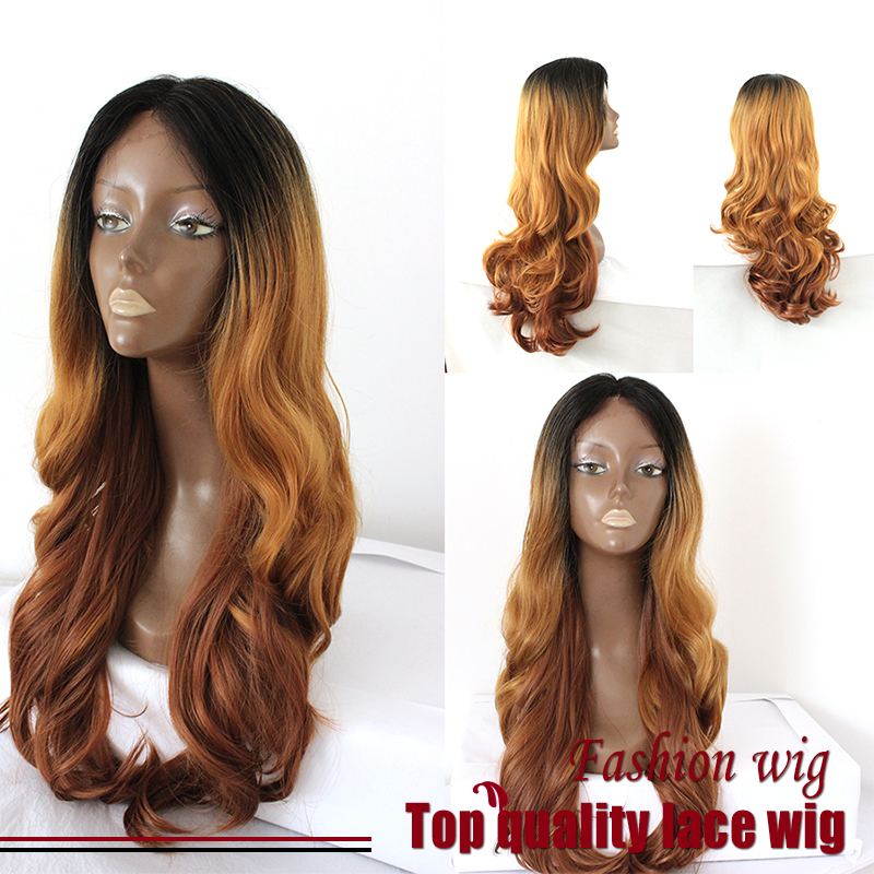 Malaysian Hair Braided Long Wave Wigs Three Tone Color Black/Brown Synthetic Lace Front Wigs Heat Resistant Synthetic Hair Wigs<br><br>Aliexpress