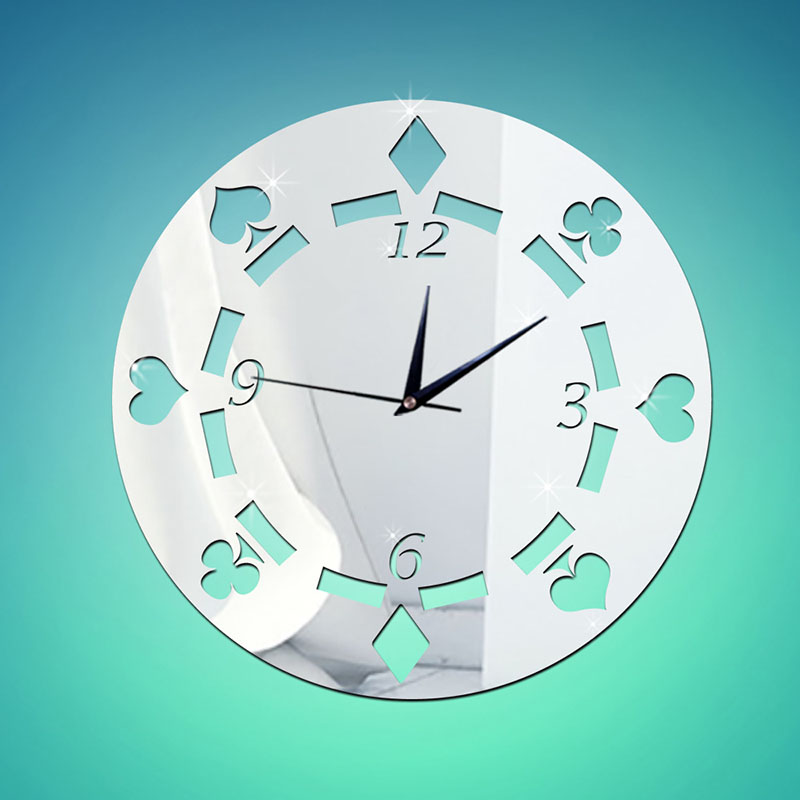 Poker Design Mirror Wall Clock For Home Decoration Classic Needle Clocks For Living Room Mirror Wall Stickers REROJ DEL PARED(China (Mainland))