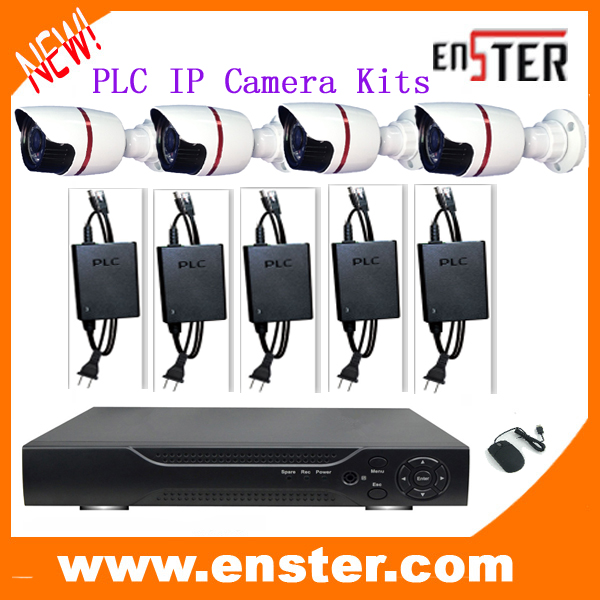 1*4ch POE NVR 4 x 1.0MP Outdoor IP Camera 5*PCL Transimission 1*USB Mouse IP Camera Kit CCTV Surveillance system(China (Mainland))