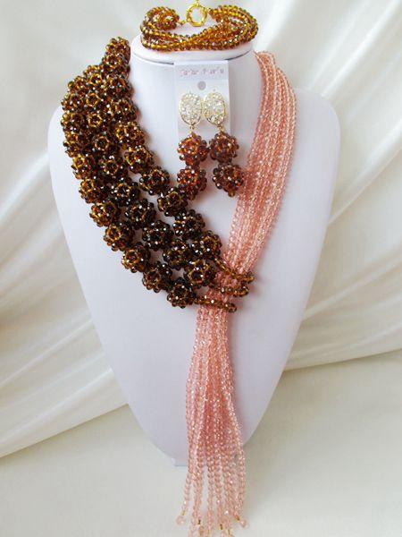 NEW nigerian weddin Brown africanbeads jewelry Set Crystal beads bride jewelry  R-2360<br><br>Aliexpress