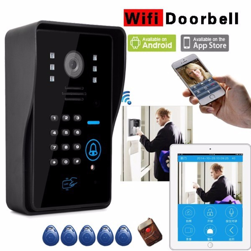 Wireless Wifi Doorphone Real Time Live Viewing Video Door Bell Door Phone ID Card Password Remote Controller Android IOS APP(China (Mainland))