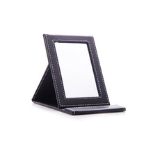 High-grade PU leather makeup mirror Portable folding  Cosmetic mirror desktop vanity mirrors girl Up mirrors 5 colors 17 * 11cm(China (Mainland))