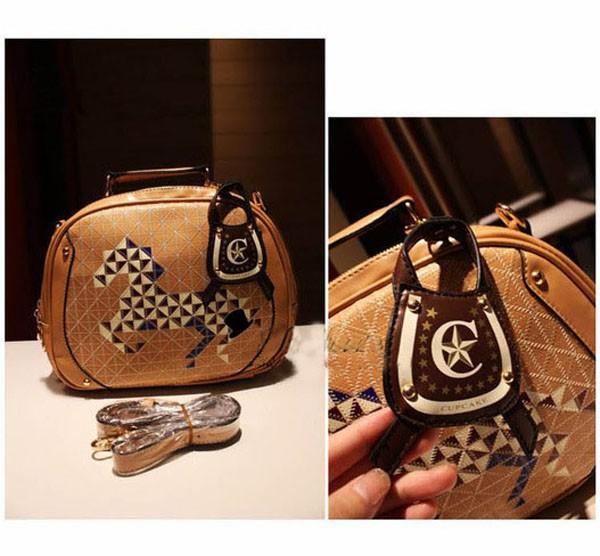 2Pcs Korea Style Brown PU Leather Colt Horse Satchel Shoulder Bag