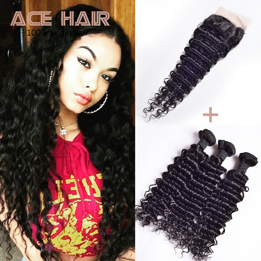 Peruvian Deep Wave With Closure 7a 4x4 Free Middle 3 Part Human Hair  Peruvian Lace Closure 3 Bundles With Closure Virgin Hair <br><br>Aliexpress