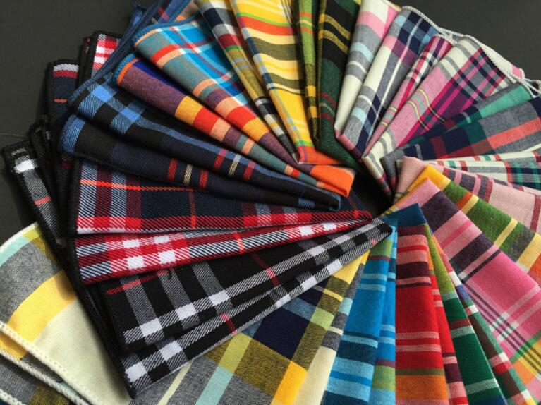 Classic cotton material Scottish font b tartan b font squares suit pocket towel dresses Men Pocket