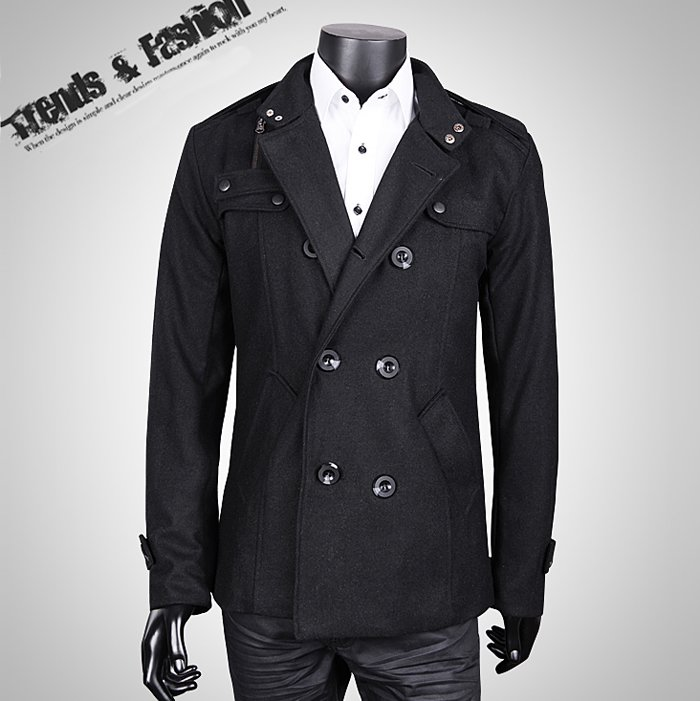 Wholesale-Big Fashion Mens Wool Trench Coat Winter Jacket Overcoat