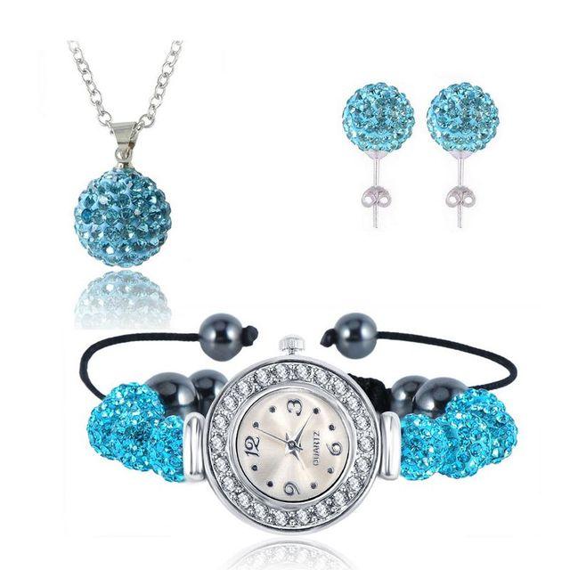 LZESHINE 10mm Balls Watch Shamballa Crystal Earrings/Necklace Pendant/Bracelet Jewelry Sets Mix Colors Options aretes SHLSTUmix1