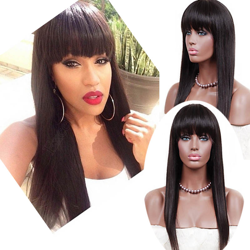 Hot Sale 100% Brazilian Virgin Hair Lace Wig Fringe Straight Lace Front Wigs Human Hair Full Lace Wig With Bangs Bleached Knots<br><br>Aliexpress