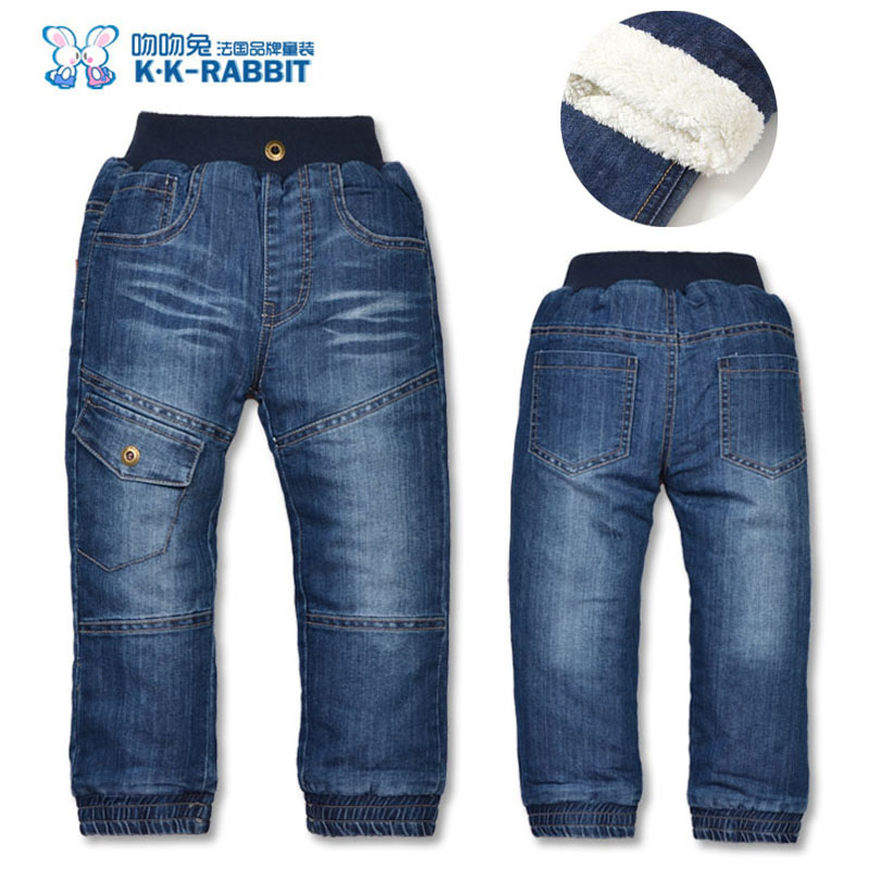 High quality KK-RABBIT Winter Thick Fashion Boys Pants Kids Trousers Girls Baby Children Jeans