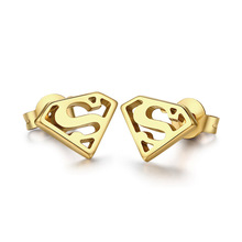 superman earrings for men yellow gold plated fashion earrings for boysER024(China (Mainland))
