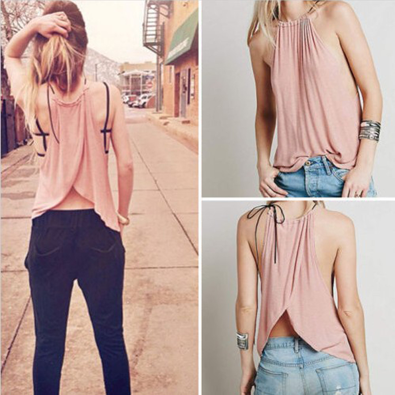 Casual Europe and American the lady sleeveless Round Neck T-shirt Unique Sexy Design Will Make You Feel Attractive(China (Mainland))