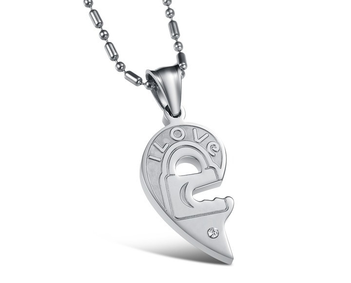 Silver and Black Split Joint Heart Pendant Necklaces for Couples