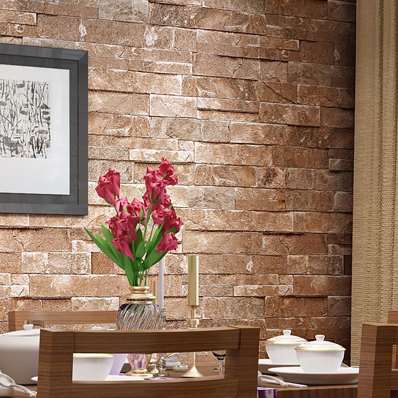 Brick Design Wall Covering : D vintage design brick wallpaper wall covering paper