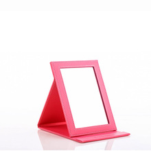 Exquisite PU leather makeup mirror   Cosmetic mirror desktop vanity mirrors for girl Portable folding Up mirrors 24 * 18cm(China (Mainland))